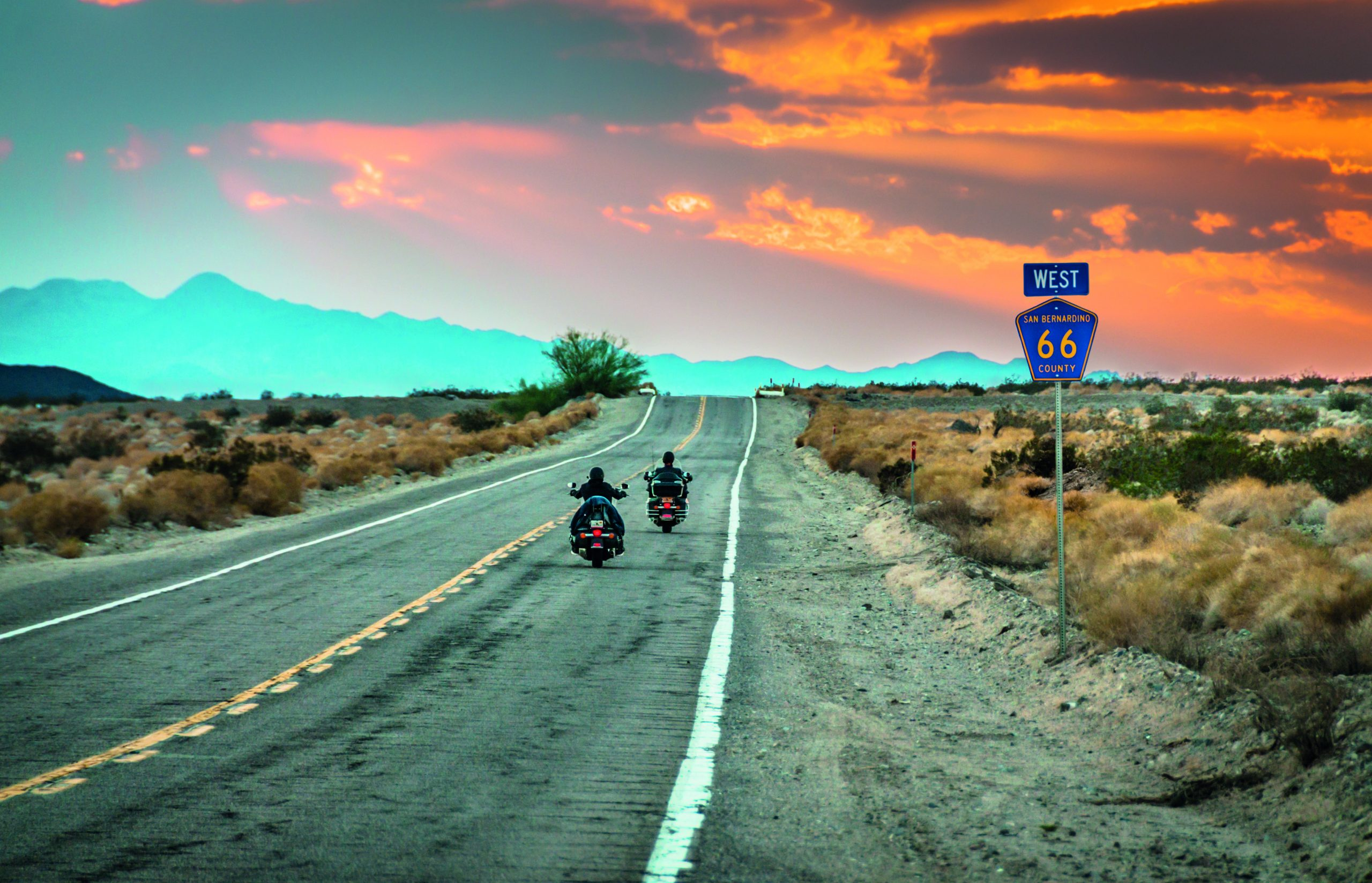 A close up of a desert road